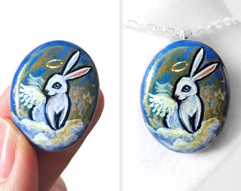 Rabbit Painting, Keepsake Jewelry, Angel Necklace, Pet Pendant, Animal Portrait, Memorial Gift, Hand Painted Pebble Art, Bunny Lover