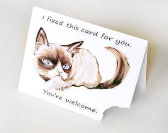 Grumpy Cat Funny Greeting Card Ripped Sarcastic Customized Notecard Blank