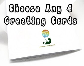 SALE Set Of 4 Greeting Cards Your Choice Any Card Custom Listing Choose Own Blank Birthday Thank You