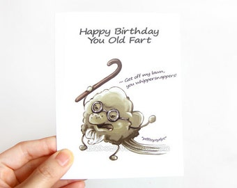 Funny Birthday Card Old Fart Blank Greeting Happy Man Adult Humor Personalized Custom Age