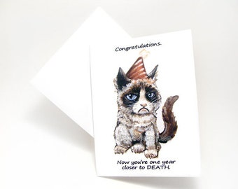 Grumpy Cat Card Funny Birthday Blank Greeting Adult Humor Meme Sarcastic Custom Name Personalized Message
