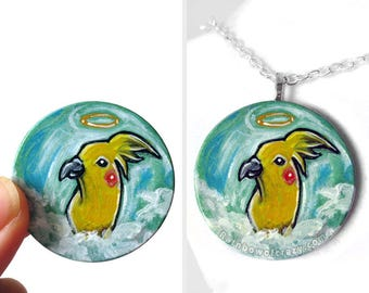 Hand Painted Wood Pendant Pet Memorial Angel Art Yellow Bird Jewelry Cockatiel Necklace Pet Loss Animal Lover Keepsake Gift for Her