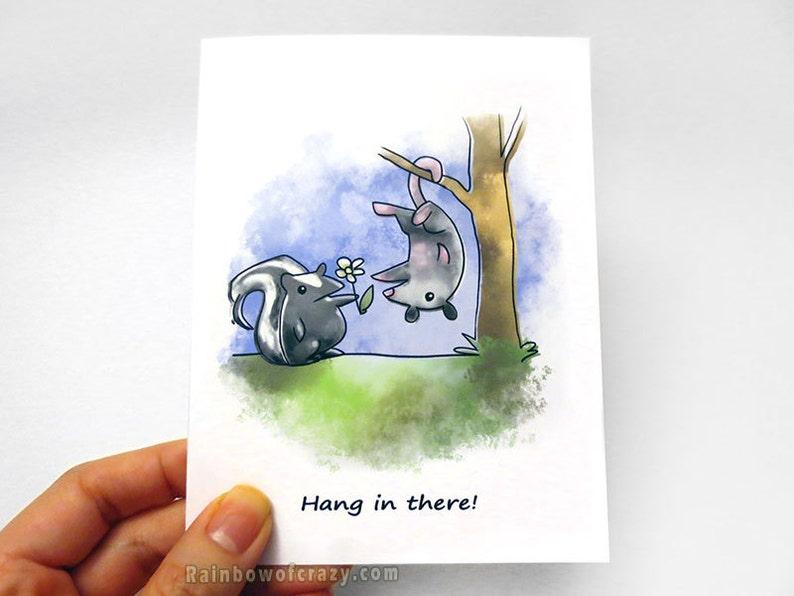 Sympathy Card Encouragement Card Skunk Art Possum Print image 0
