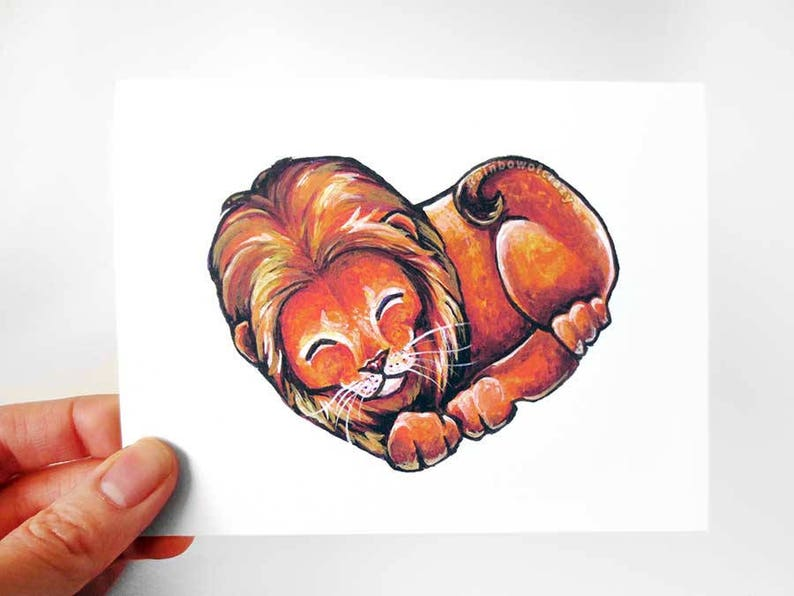 Lion Card Heart Card I Love You Big Cat Art Handmade Card image 0