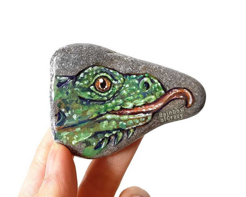 Iguana Art Pet Portrait Green Lizard Animal Painting Hand image 0