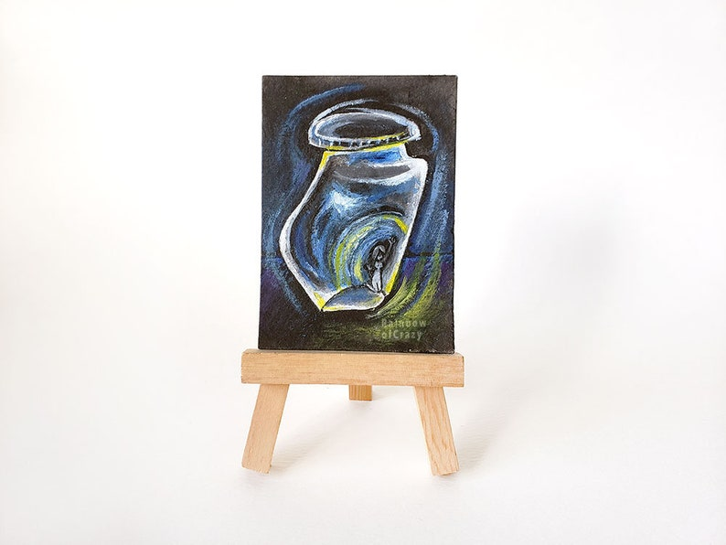 Anxiety Art ACEO Original Painting Mental Illness Mental image 0