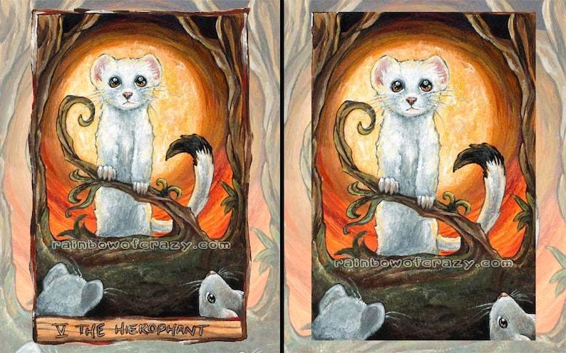 Ferret Art Print White Stoat Hierophant Tarot Card Pet image 0