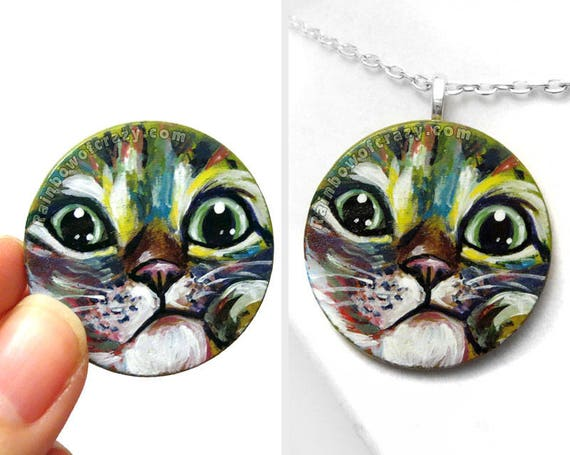 f65cdab1a324 Cat Necklace Pet Art Grey Tabby Rainbow Painting Pet | Etsy