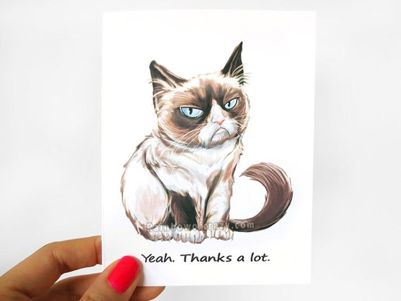 grumpy cat card thank you card funny greeting card etsy