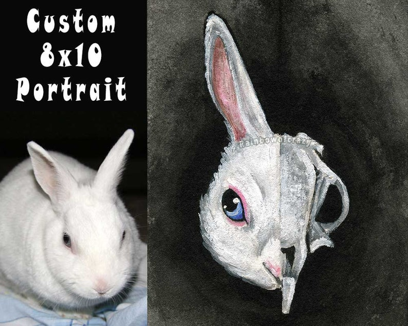 Custom Pet Portrait 8x10 STRETCHED CANVAS Skull Painting image 0
