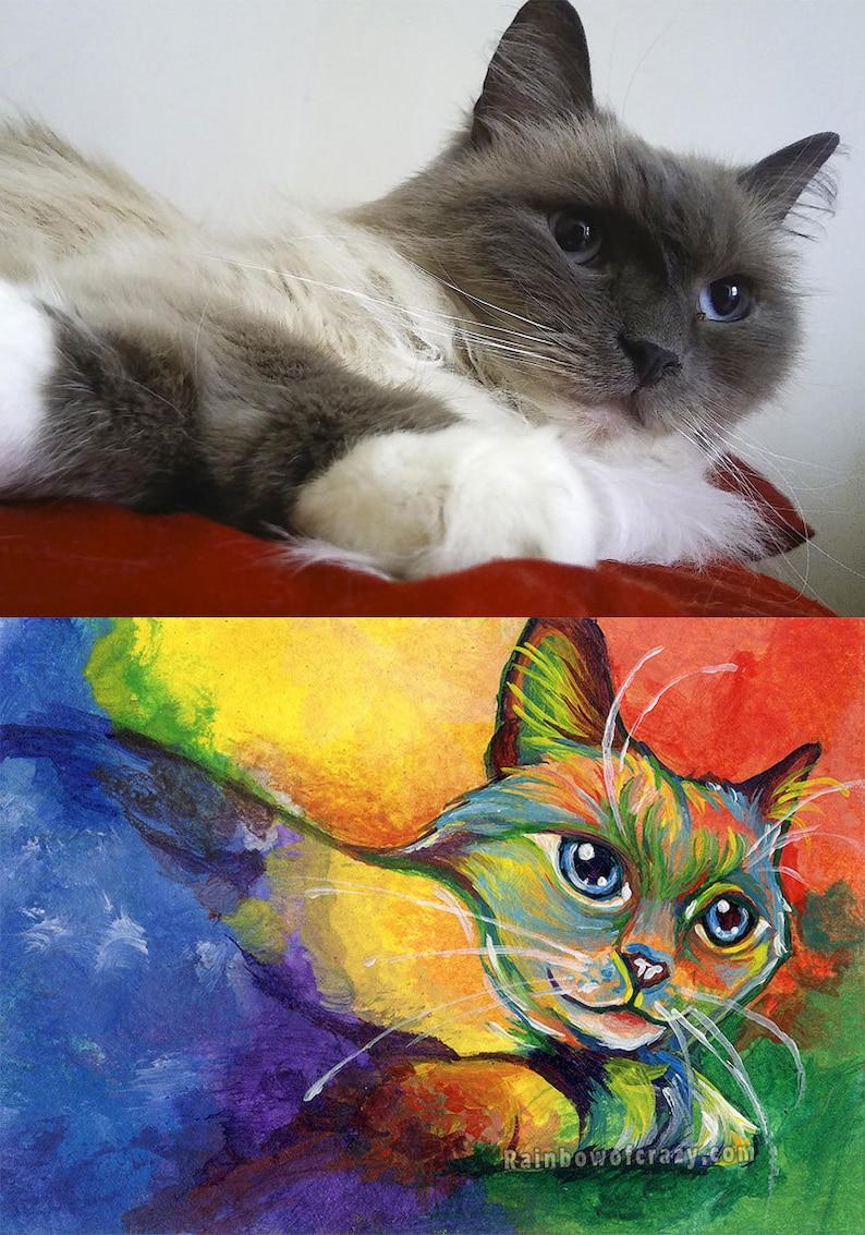 8x10 Art Custom Art Pet Portrait Cat Painting STRETCHED CANVAS Dog Owner Pride Gift Rainbow Colors Pet Memorial Personalized Art