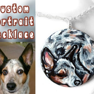 Gift for Her Sleeping Beauty Cat Nap Dog Painting Pet Portrait Circle Pendant Hand Painted Wood Jewelry Custom Pet Necklace