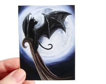 SALE: Black Cat Print, ACEO Art Card, Full Moon, Bat Wings, Fantasy Art, Night Sky, Halloween Decor, Cat Lover Gift, Animal Illustration
