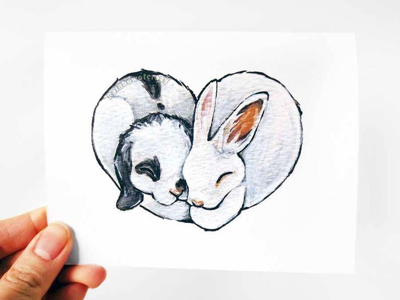 Bunny Card Heart Card I Love You Rabbit Lover Pet image 0