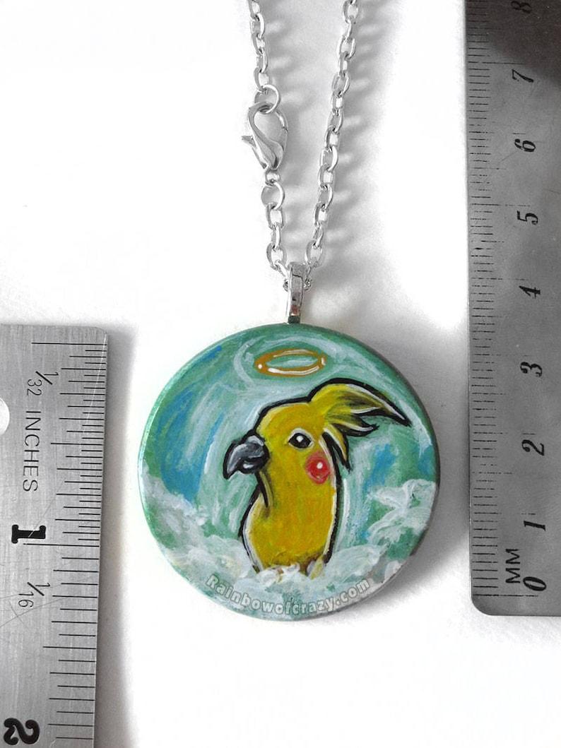 Keepsake Gift for Her Pet Memorial Angel Art Hand Painted Wood Pendant Yellow Bird Jewelry Cockatiel Necklace Animal Lover Pet Loss