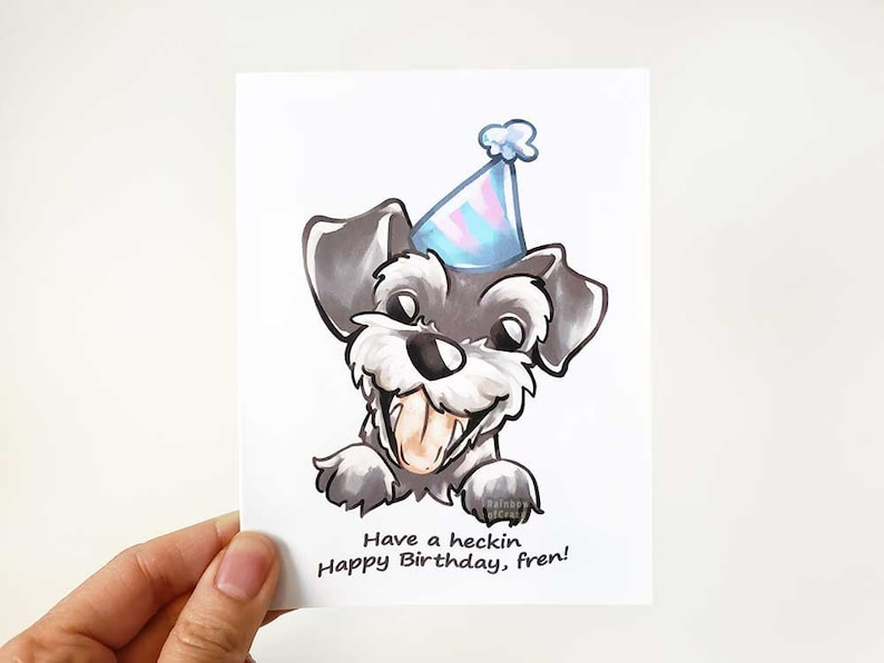 Happy Birthday Card Dog Lover Miniature Schnauzer Doggo image 0