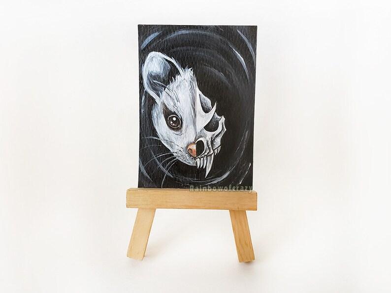 Possum Art ACEO Original Painting Skull Decor Animal image 0