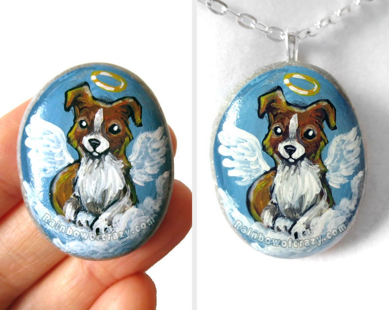 Dog Necklace Border Collie Angel Jewelry Hand Painted image 0