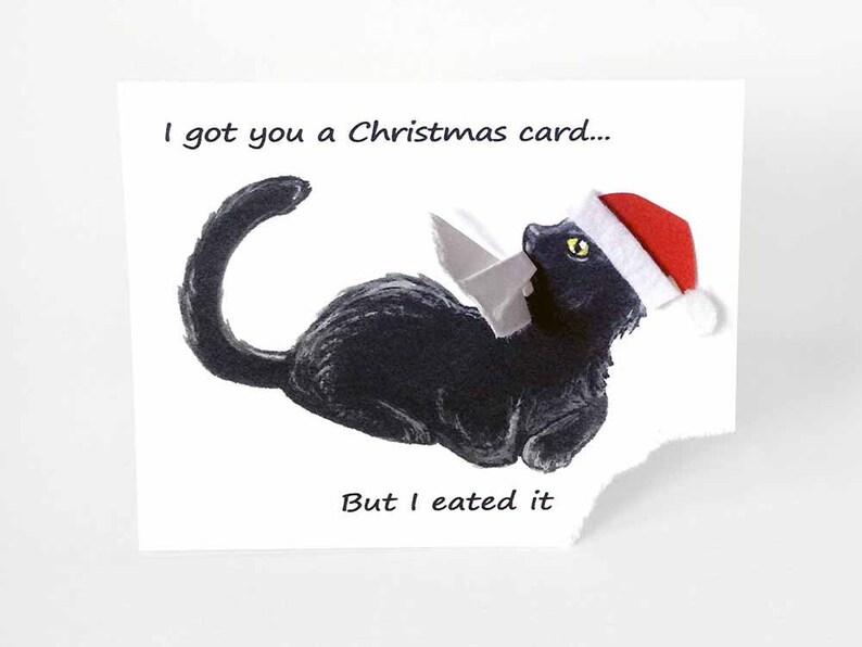Christmas Card Black Cat Card Santa Hat Happy Holidays image 0