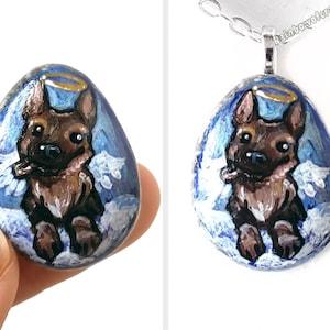 Shihtzu Owner Rainbow Bridge Black Dog Shih Tzu Necklace Dog Painting Pebble Pendant Pet Loss Hand Painted Rock Art Angel Jewelry