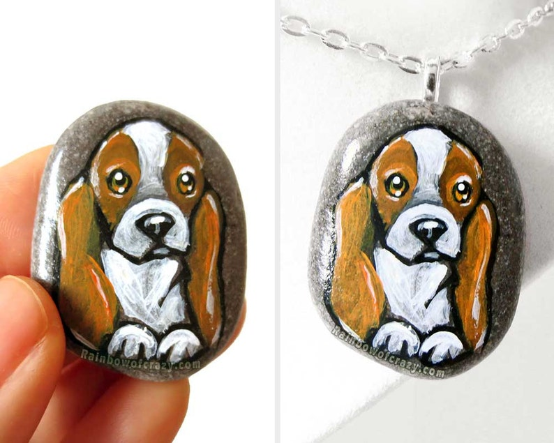 Beagle Dog Necklace Pet Portrait Stone Dog Art Jewelry image 0