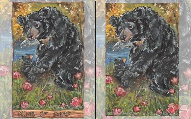 Black Bear Art Any Print Size Red Flower Nature Decor Nine image 0
