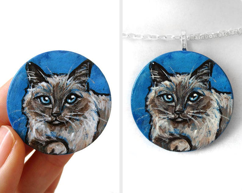 Cat Necklace Birman Cat Portrait Animal Art Hand Painted image 0