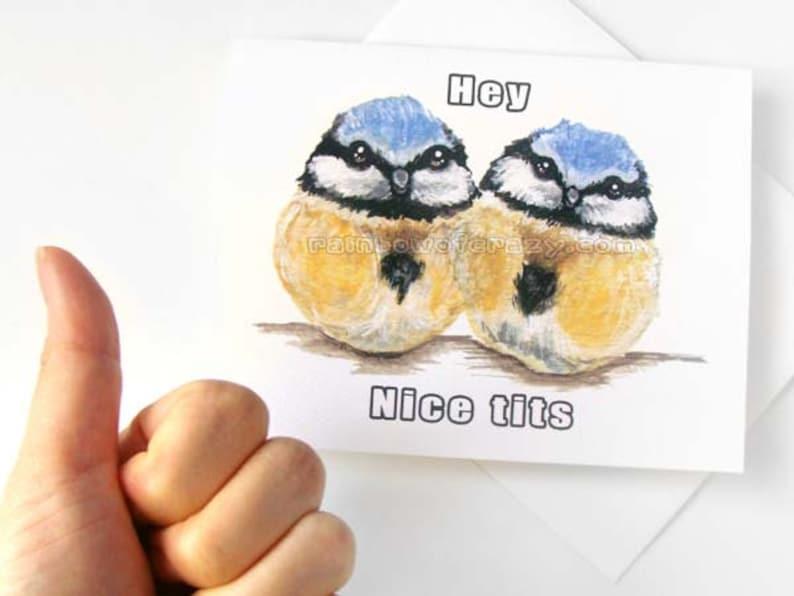 Funny Card Nice Tits Blue Bird Card Adult Humor Blank image 0