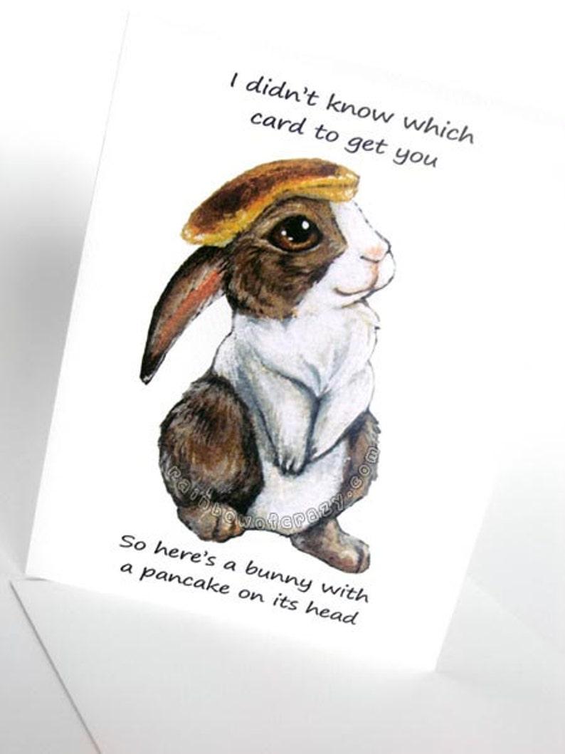 Funny Card Pancake Bunny Greeting Cute Rabbit Art
