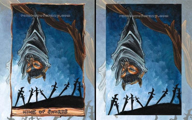 Flying Fox Bat Print Nine of Swords Tarot Card Halloween image 0