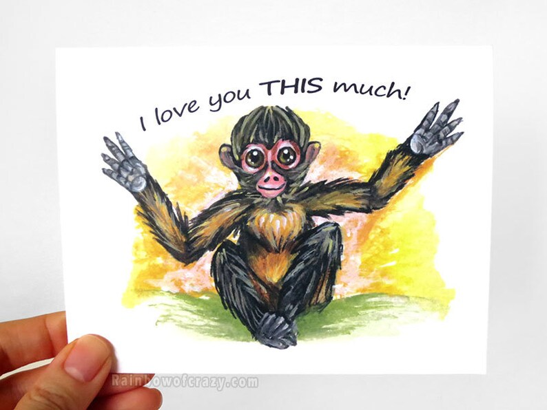 Spider Monkey Card I Love You THIS Much Valentine Card image 0