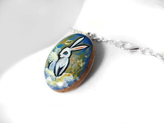 Pebble Jewelry Animal Lover Pet Portrait Memorial Gift Hand Painted Rock Art Chinchilla Necklace Stone Pendant Original Painting