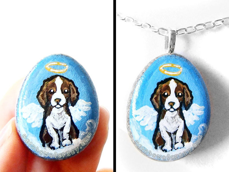 Springer Spaniel Dog Necklace Cocker Spaniel Art Pendant image 0