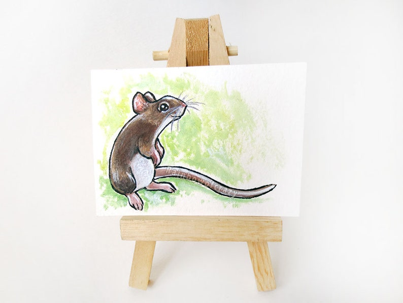Mouse Painting ACEO Original Animal Lover Tiny Art Cute image 0