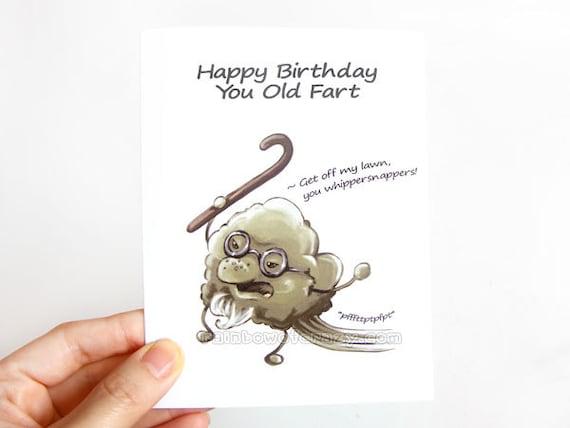 Funny Birthday Card Old Fart Blank Greeting Happy