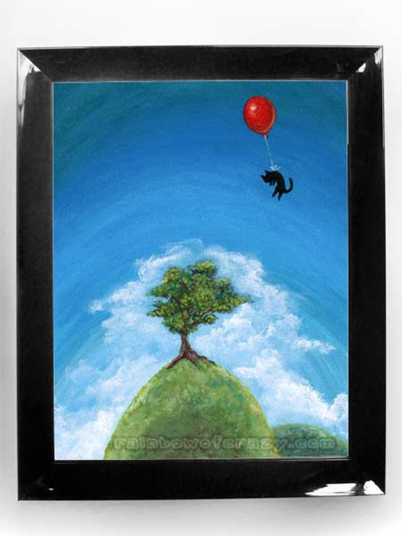 Black Cat Print Red Balloon Art Tree Hill Pet Owner Gift image 0