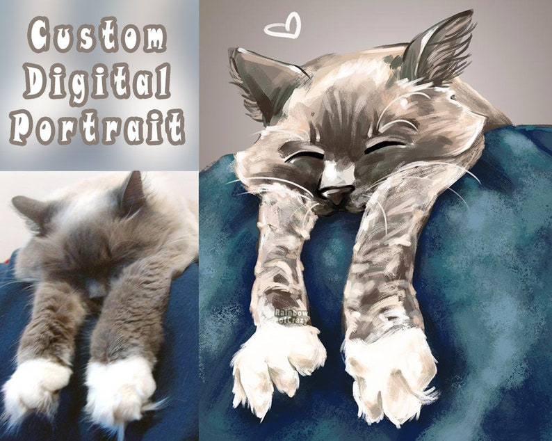 Custom Digital Pet Portrait Dog Painting Rabbit Art Cat image 0