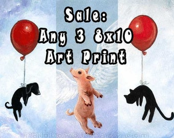 Sale: Three 8x10 Art Prints, Your Choice, Art Print Set, Kids Bedroom Decor, Animal Lover Gift, Nursery Room Art, Rainbowofcrazy