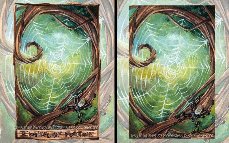 Spider Web Print Forest Animal Decor Wheel of Fortune Tarot image 0