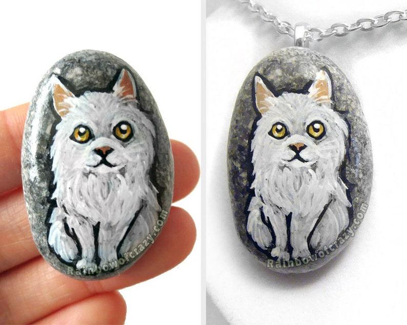 SALE: Cat Necklace Pet Portrait Persian Cat Painting image 0
