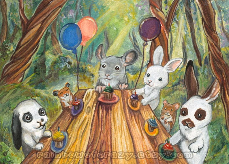 Birthday Party Art Woodland Creatures Forest Animal Nursery image 0