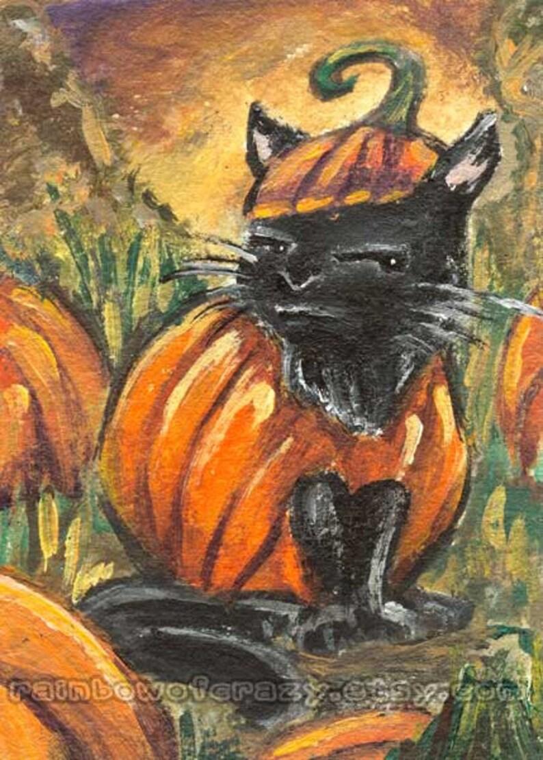 Black Cat Art Pumpkin Decor Halloween Costume Autumn Print image 0