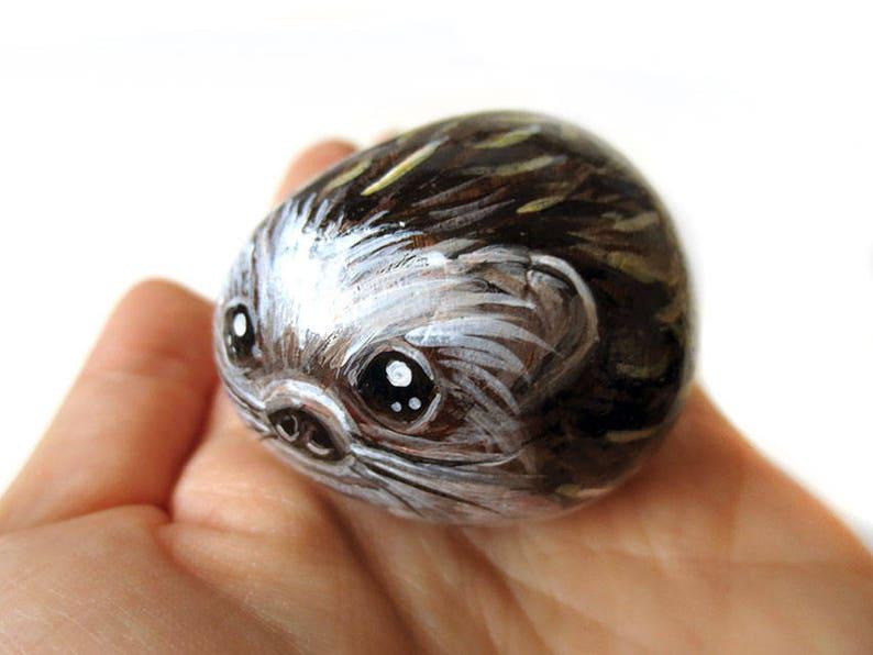 Hedgehog Painting Pet Portrait Natural Beach Stone Hand image 0