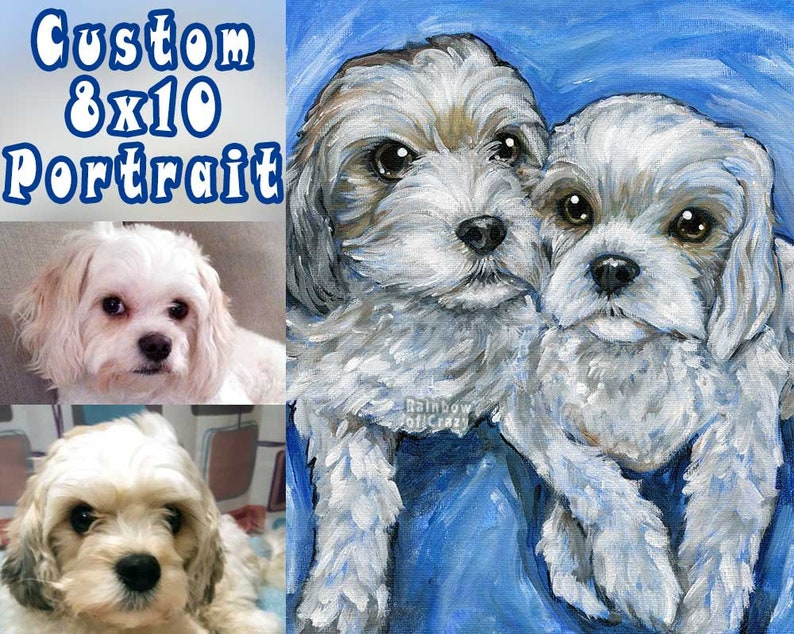 Custom Portrait 2 Pets 8x10 STRETCHED CANVAS Personalized image 0