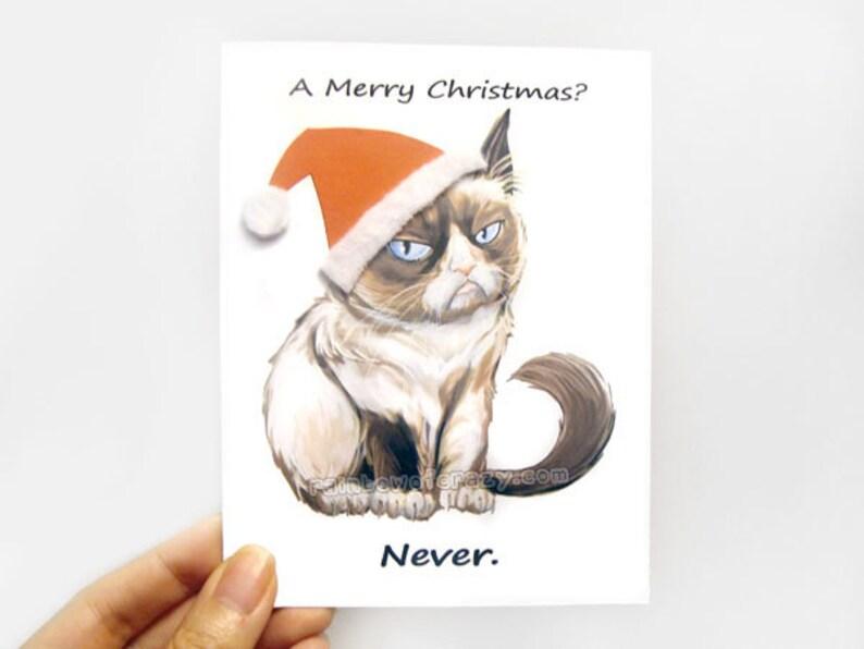 Funny Christmas Card Grumpy Cat Card Blank Greeting Card image 0