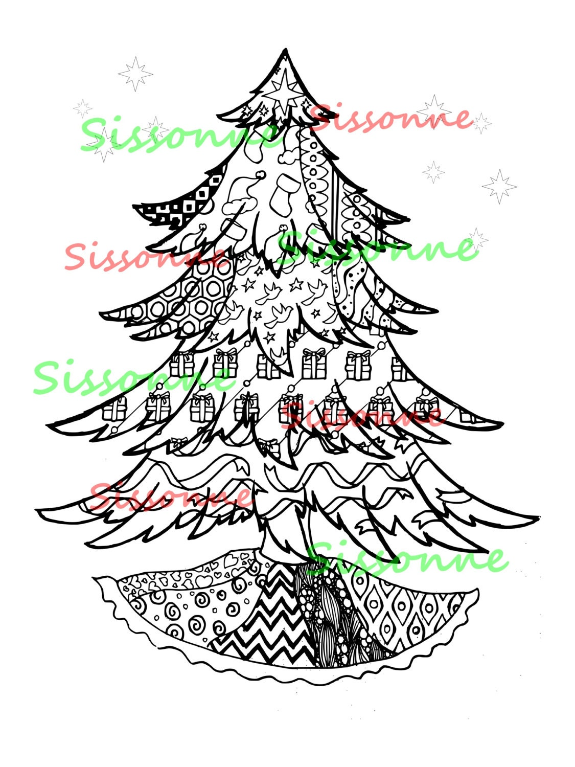 Christmas Tree Zentangle Inspired Coloring Page Instant PDF | Etsy