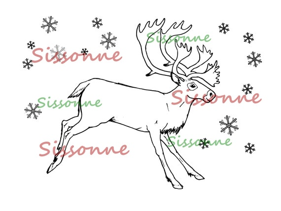 Christmas Reindeer Coloring Page - Instant PDF Download - Adult Coloring  Page - Christmas Kids Activity