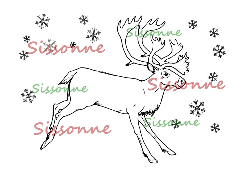 Christmas Reindeer Coloring Page Instant PDF Download | Etsy