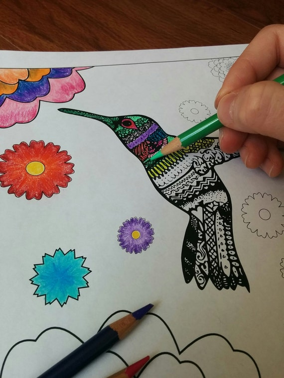 Printable Hummingbird Coloring Page - Hummingbird Flowers - Zentangle  Inspired - Instant Download PDF - Adult Coloring Book- Flower Doodle -