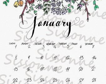 January 2017 printable calendar - Instant Download Watercolor PDF - Printable Floral Art - Home Decor- Typography - Monthly Calendar flowers